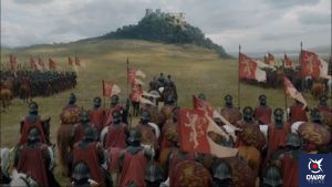 The arrival of the Lannister army at Highgarden.