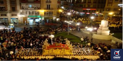 Procession through one of the streets of Malaga