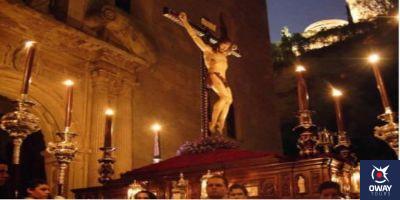 Cristo saliendo de la iglesia en Granada