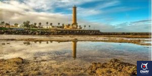 Lighthouse on the coast of the town of Chipiona in Cadiz