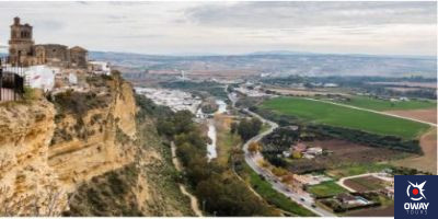 Views of the height at which the town of Arcos de la Frontera in Cadiz is located
