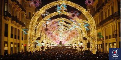 Calle Larios con el alumbrado navideño Mñalaga