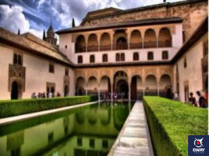 Courtyard of one of the Nasrid palaces in Granada
