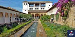 Garden of the Generalife with fountains in Granada