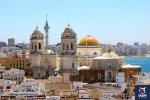 Vista de la cúpula dorada de la Catedral de Cádiz