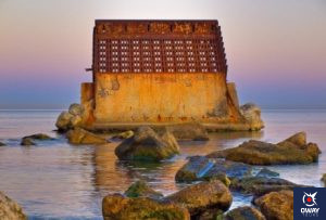 Breakwater of the old thermal power plant in Malaga