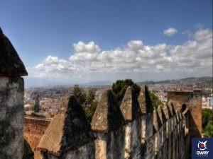 Vistas desde la muralla del Castillo de Gibralfaro de Málaga