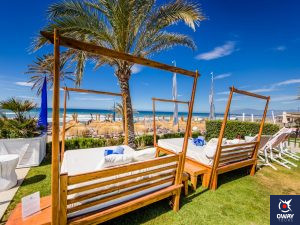 Hammocks on the beachfront of the Club Estrella del Mar in Marbella