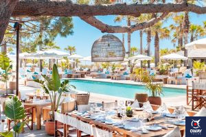 Inside Club Nikki Beach in Marbella