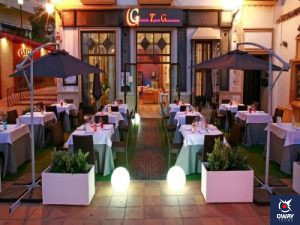 Outdoor terrace of the Garnacha restaurant in Marbella