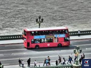 tourist bus with the beach in the background