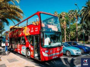 Tourist bus through the city Tourist bus through the city