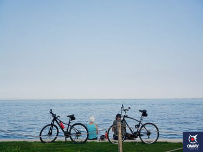 Views of bicycles and the beach