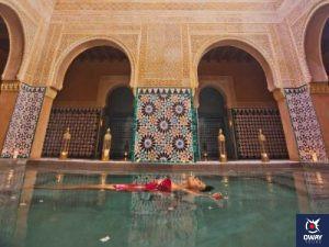 woman taking a bath