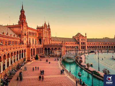 Coucher de soleil sur la Plaza de España (Séville)