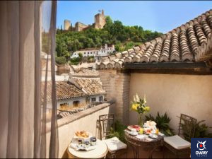 Breakfast with views of the Alhambra at the Hotel Casa 1800 in Granada
