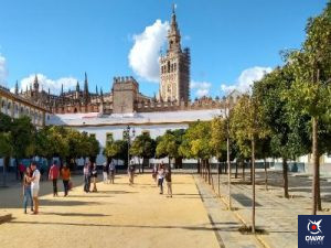 Vista Giralda desde Patio de las Banderas Sevilla