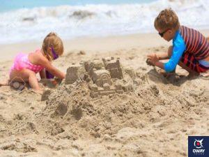 Children making a sand castle